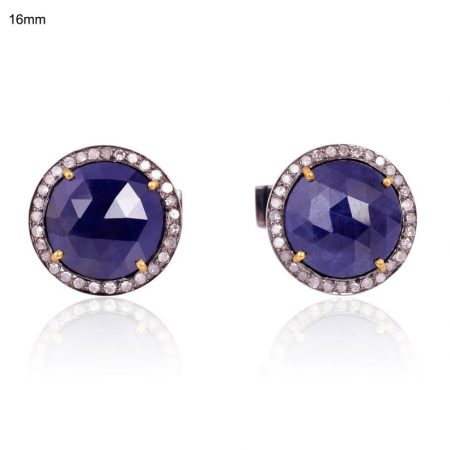 Sapphire Cufflinks Diamond Pave 925 Sterling Silver Men's jewelry