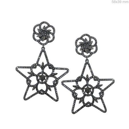 Handmade Pave Diamond Star Earrings 925 Sterling Silver Drop/Dangle Earrings Pave Diamond Jewelry