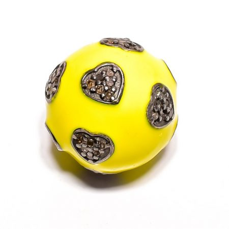 Pave diamond 925 sterling silver Round Ball both side drilled Clasp yellow Connector pave ball clasp connector diamond