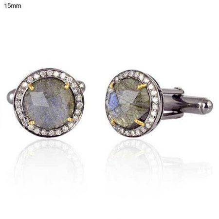 Labradorite Cufflinks Diamond Pave 925 Sterling Silver Men's jewelry