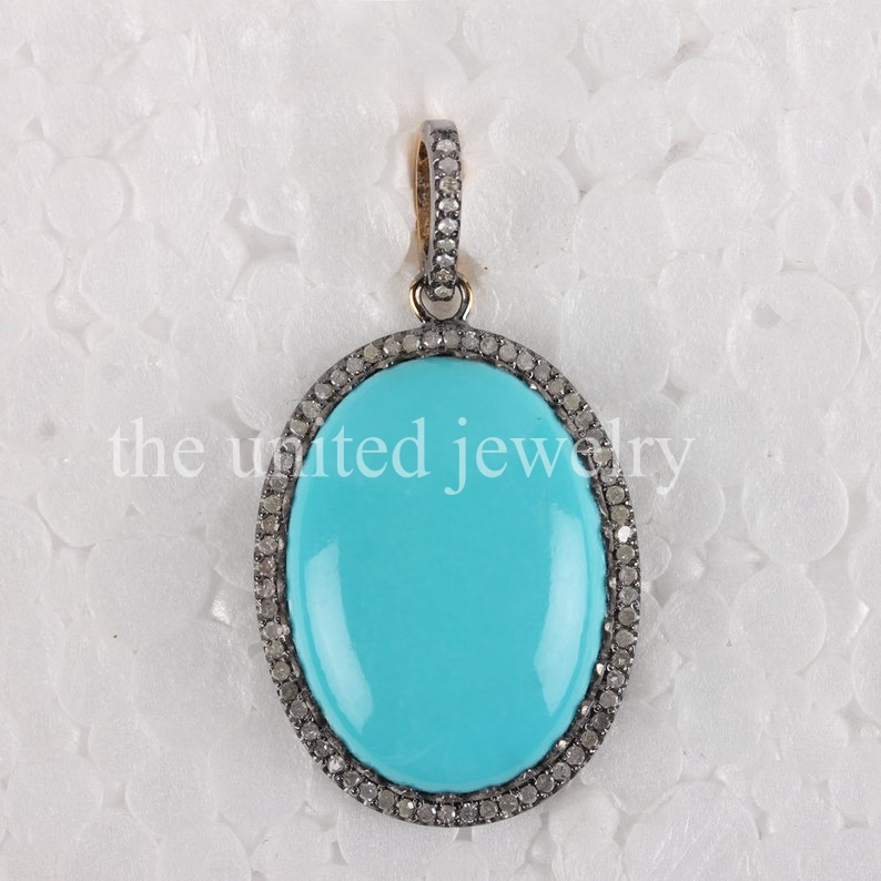 d3354e0cc202a Genuine Pave Diamond Turquoise Pendant High Quality Turquoise and ...