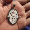 14k Gold Sterling Silver Pave Diamond Hamsa Pendant Jewelry