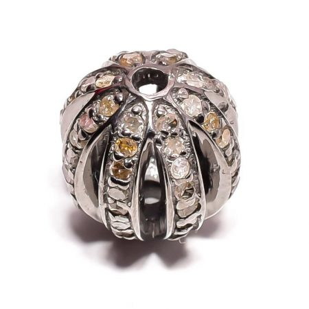 Pave diamond 925 sterling silver Round Ball both side drilled Clasp Strong Connector pave ball clasp connector diamond