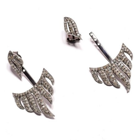 Pave Diamond 925 Sterling Silver natural gemstone earring pair jewelery earring