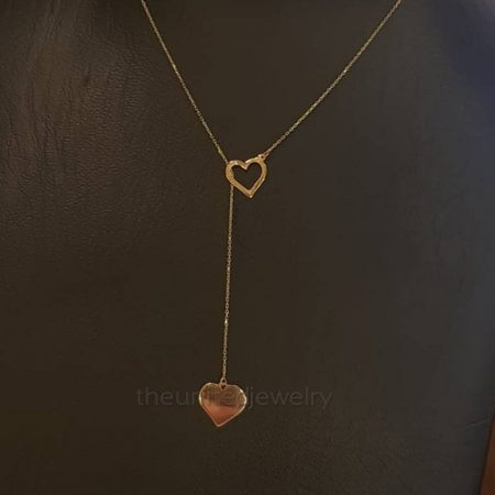 18' inch Link Chain Heart Gold Plating Sterling Silver Necklace Jewelry, Heart Chain Necklace