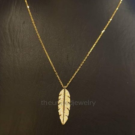 18' inch Link Chain Gold Plating Pave Diamond Sterling Silver Leaf Necklace Jewelry, Chain Necklace
