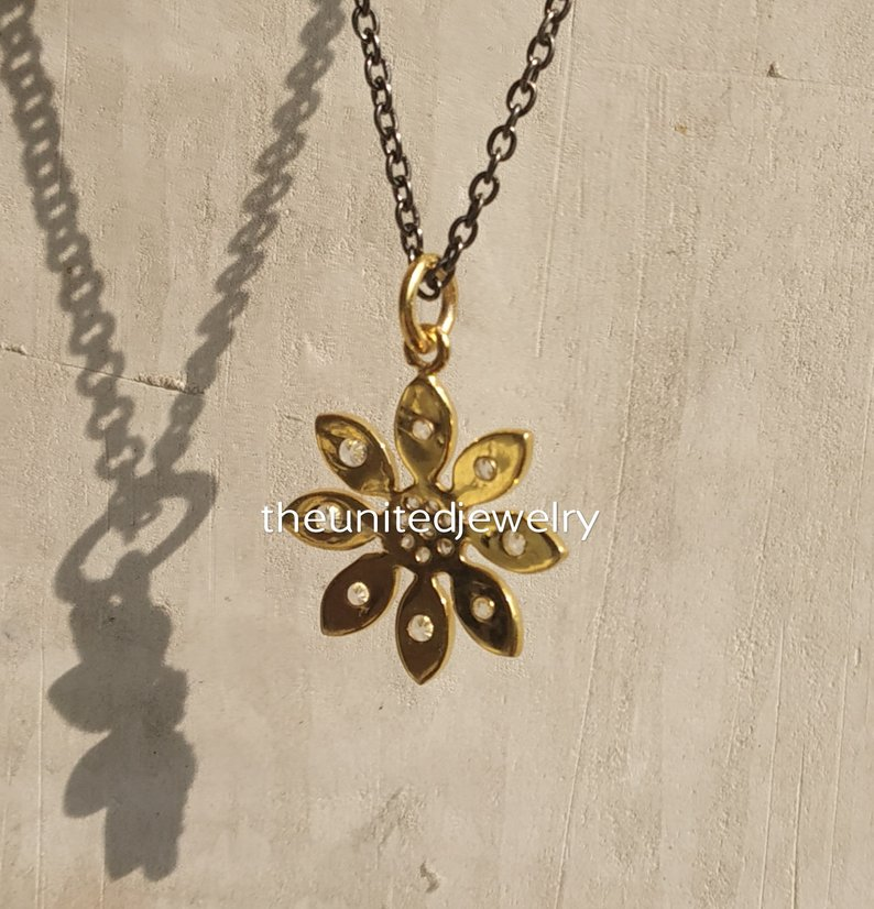 Gold Plated 925 Sterling Silver Flower Charms Bracelet Pendant Jewelry