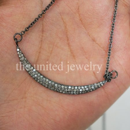 Valentine Gift Natural Pave Diamond Crescent Moon Pendant Necklace 925 Sterling Silver Religious Handmade Fine Jewelry