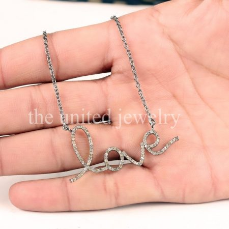 Genuine Pave Diamond Connector Script Word Love Pendant Necklace 925 Sterling Silver Pave Diamond Valentine Jewelry
