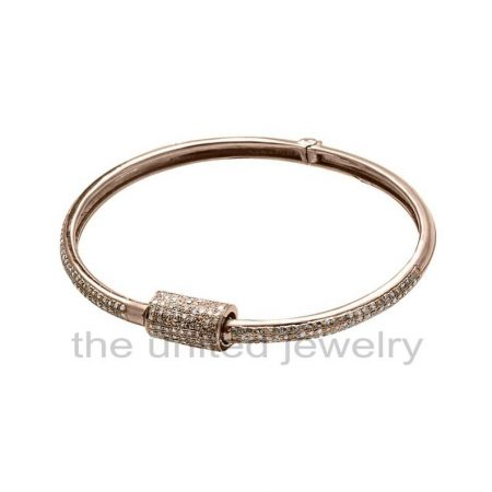 14k Rose Gold Plating Natural Pave Diamond Designer Carabiner Handmade 925 Sterling Silver Barrel Bracelet Bangle Cuff Jewelry Whlesale