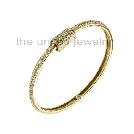 14k Yellow Gold Plating Natural Pave Diamond Designer Carabiner Handmade 925 Sterling Silver Barrel Bracelet Bangle Cuff Jewelry Whlesale