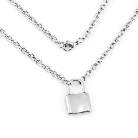 925 Sterling Silver Petite 'Lockdown' Padlock Necklace Jewelry Wholesale