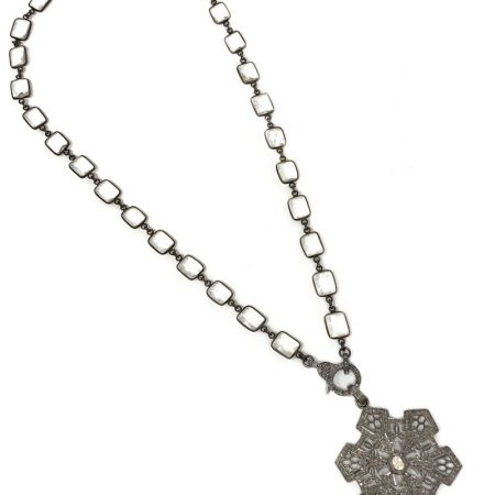 925 Sterling Silver Vintage Style Pave Diamond Pendant Jewelry