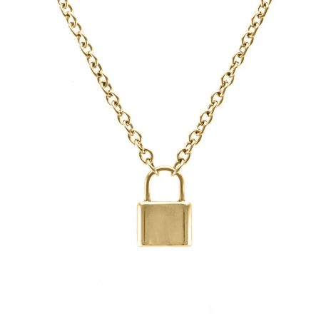Yellow Gold Plating Padlock Necklace
