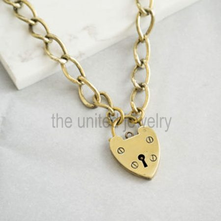 925 Sterling Silver Long Link Chain Padlock Lockdown Necklace Jewelry