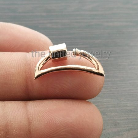 20 mm 14k Rose Gold Plating Half Moon Shape Designer 925 Sterling Silver Screw Carabiner Lockiton Lock Finding Necklace Pendant Jewelry
