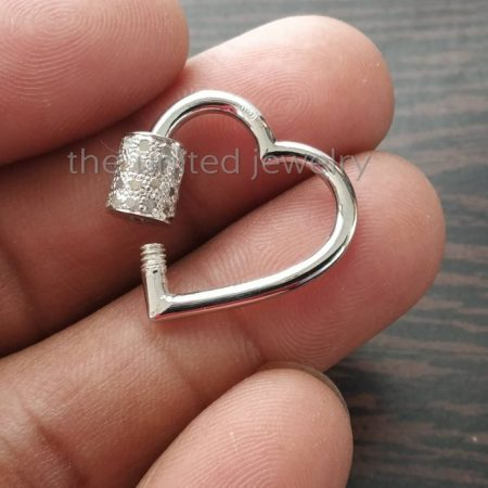 25mm Pave Diamond Heart Shape Carbiner Lock 925 Sterling Silver Natural Pave Diamond Jewelry