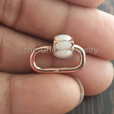 20 mm Opal Rose Gold Plating Solid Sterling Silver Opal Mini Carabiner Lock, Handmade Carabiner Lock Jewelry