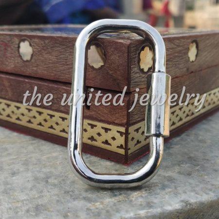 50mm Sterling Silver Handmade Carabiner Lock Fine Jewelry Bracelet Necklace Jewelry Wholesale