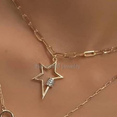 Carabiner Lock 925 Sterling Silver White Topaz Handmade Link Chain Necklace Star Shape Carabiner Lock Double Carabiner Women's Fine Jewelry