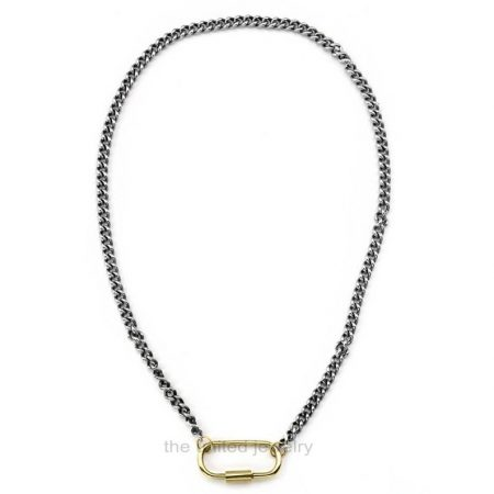 25mm Carabiner Lock With 18 inch 925 Sterling Silver Handmade Link Chain Black Rhoudium Designer Necklace Jewelry Wholesale