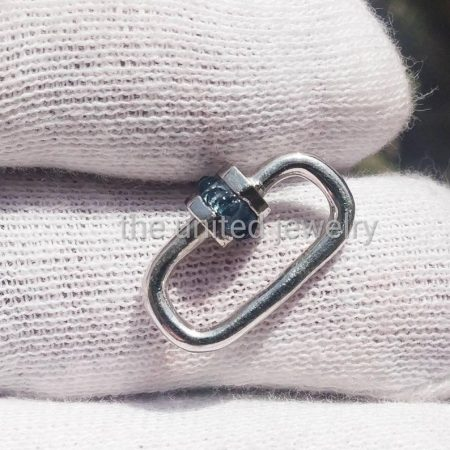 20mm Natural Blue Sapphire Baguette Handmade Carabiner Lock 925 Sterling Silver Jewelry