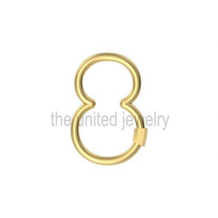 Eight Shape Yellow Gold Plating Carabiner Lock Handmade 925 Sterling Silver Lock Jewelry