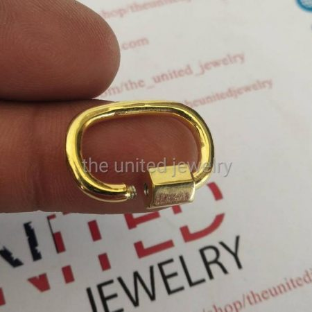 20mm Yellow Gold Plating Carabiner Lock 925 Sterling Silver Jewelry