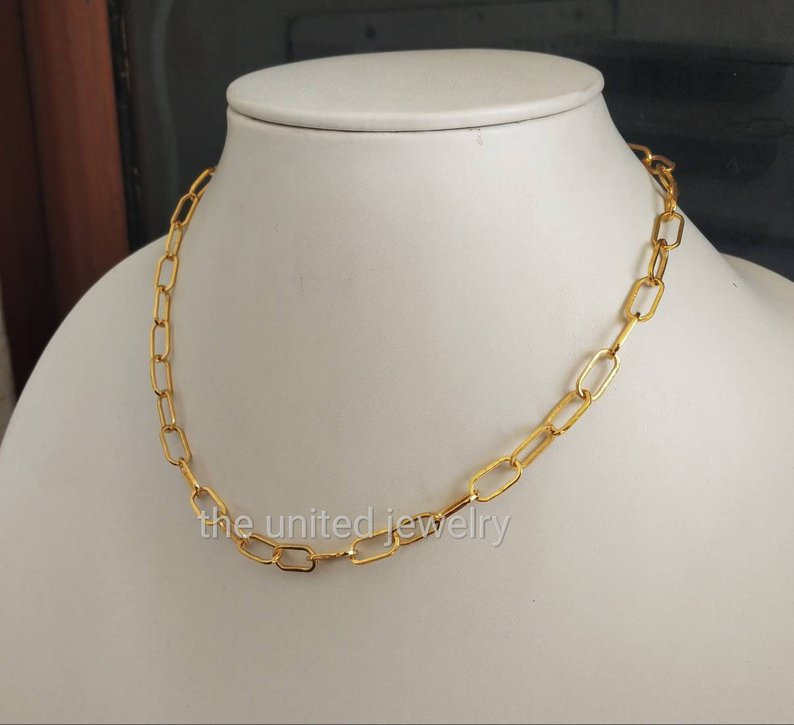 14 inch' Flat Drawn Cable Long Link Chain Handmade 925 Sterling Silver Necklace Fine Jewelry Wholesale