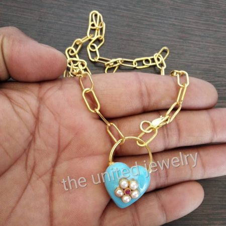 Turquoise Color Enamel Pearl With Ruby Gemstone Heart Shape Lock Flat Drawn Cable Link Chain Sterling Silver Necklace Jewelry
