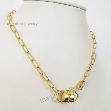 18' inch Yellow Gold Plating Drawn Cable Long Link Chain White Topaz Sterling Silver Lock Necklace Jewelry