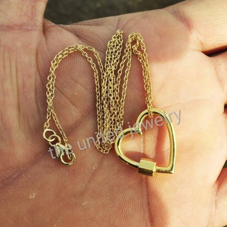 18' inch Yellow Gold Plating Chain Heart Shape Carabiner Lock Sterling Silver Lock Necklace Jewelry Supplier And Wholesaler