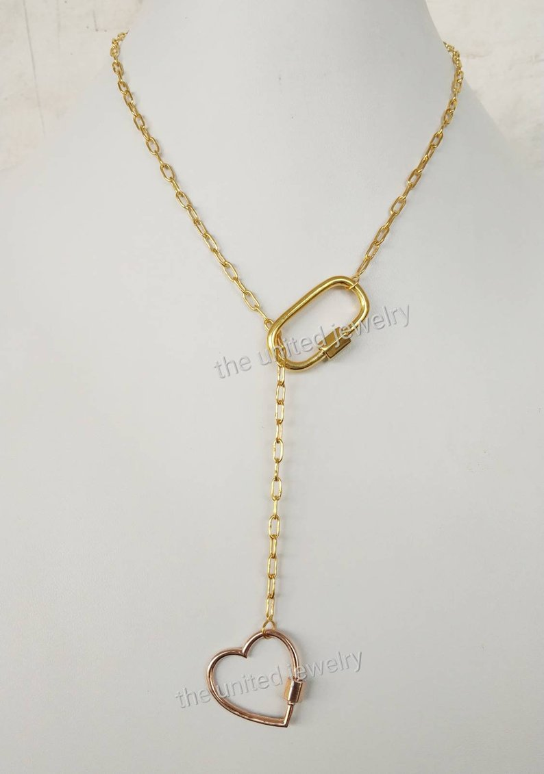 Rose Gold Heart Carabiner Lock With 16 inch Chain 925 Sterling Silver Flat Drawn Cable Link Chain Designer Necklace Jewelry