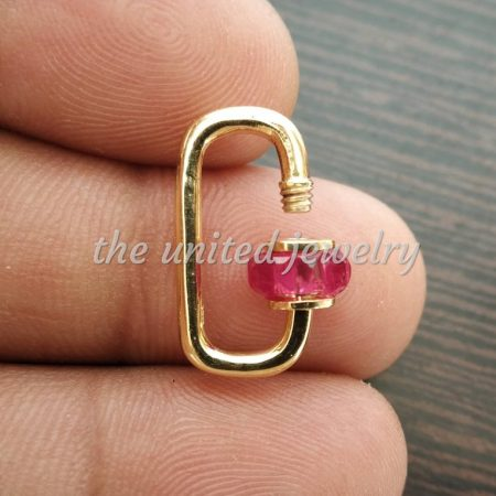 20 mm Designer Ruby Baguette Carabiner Lockiton Lock Finding Necklace Pendant Jewelry
