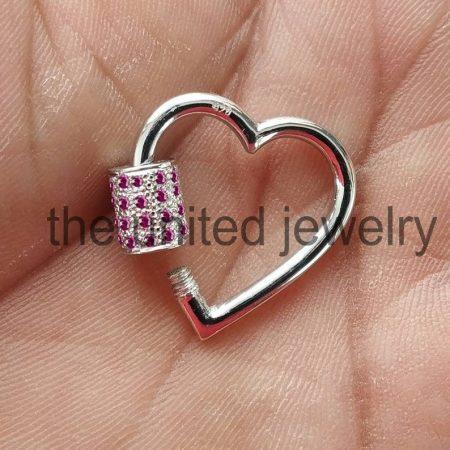 25mm Natural Ruby Heart Shape Carbiner Lock Bracelet Necklace Pendant Lock 925 Sterling Silver Jewelry