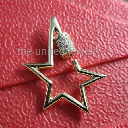 Star Shape Natural Pave Diamond Carabiner Lock Handmade 925 Sterling Silver Carabiner Jewelry Wholesale