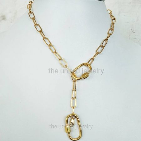 Two Size Carabiner Lock Yellow Gold Plating Falt Drawn Cable Chain Carabiner Lock 925 Sterling Silver Necklace Jewelry