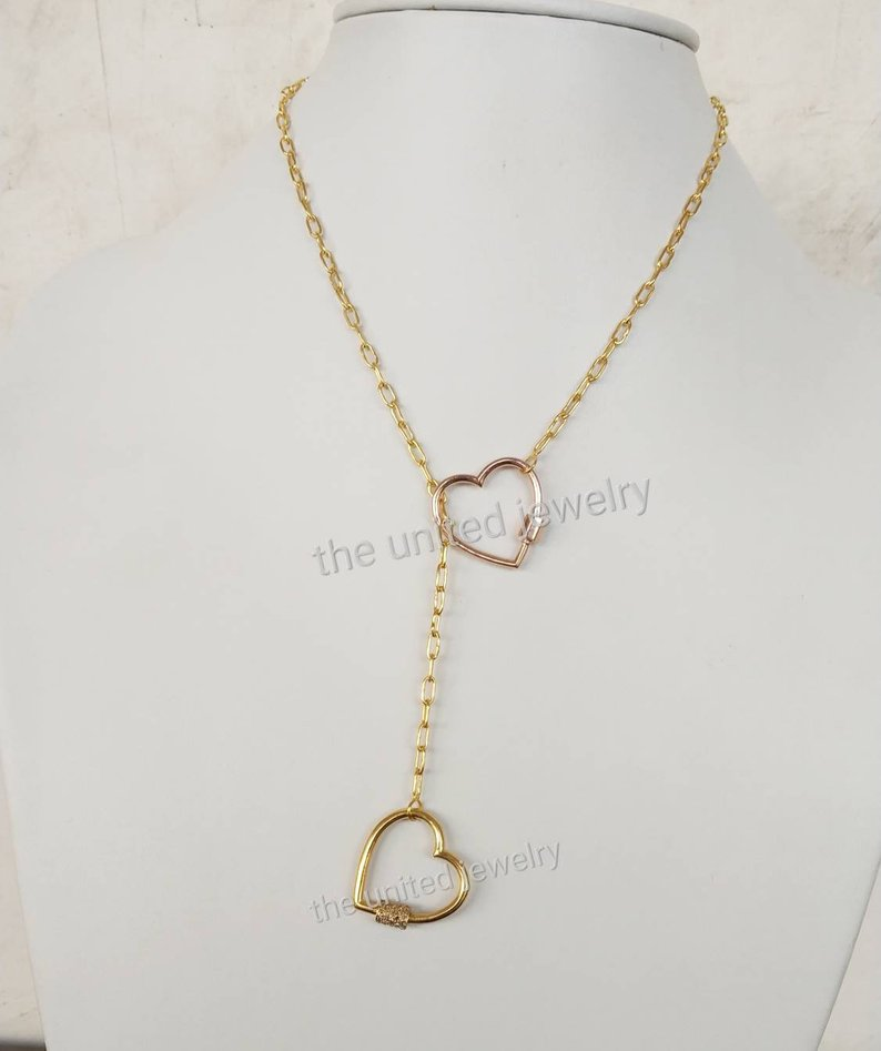 Double Heart Diamond Carabiner Lock With 16 inch Chain 925 Sterling Silver Flat Drawn Cable Link Chain Designer Necklace Jewelry