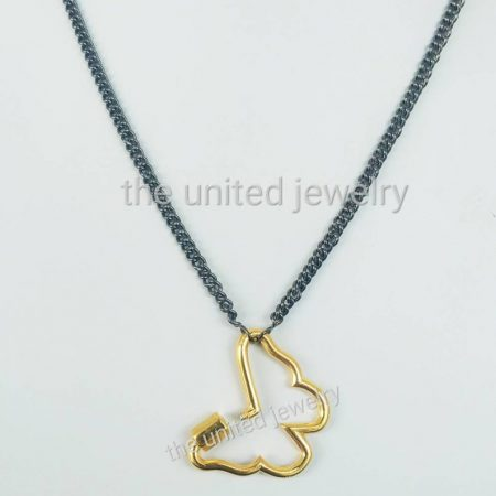 Butterfly Carabiner Lock With 18 inch 925 Sterling Silver Handmade Link Chain Black Rhoudium Designer Necklace Jewelry Wholesale