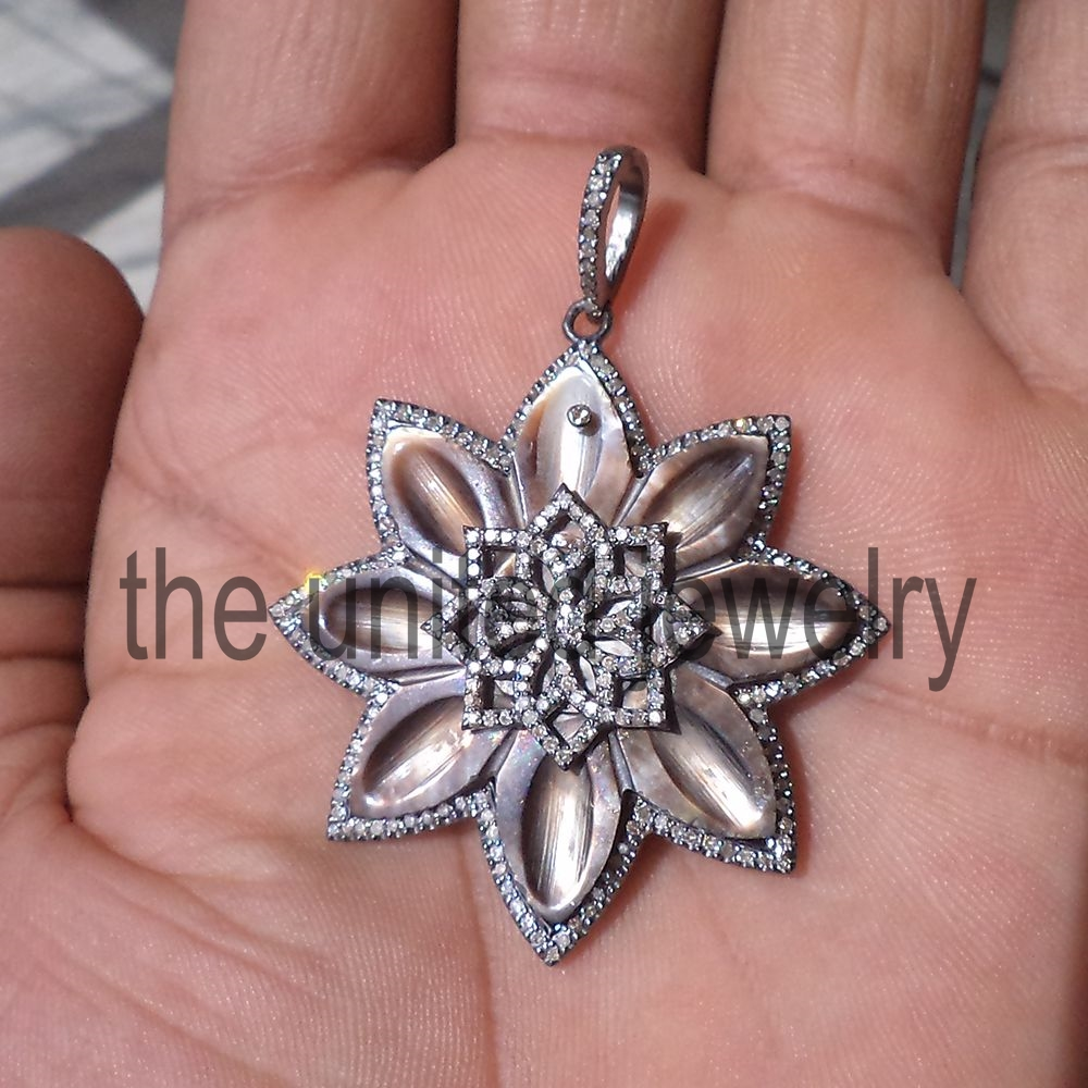 Flower Design Sterling Silver Pave Diamond Designer Pendant The
