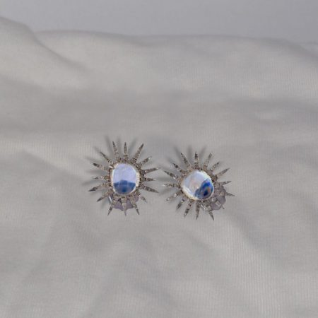 Blue Moonstone Star Stud Earrings in 18k White Gold