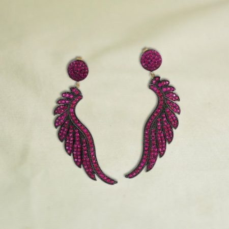 14k Gold Pave Ruby Gemstone Feather Earrings Jewelry