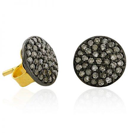 92.5 sterling Silver Designer Diamond Stud Earring Jewelry, 14k Gold Pave Diamond Stud Earring Jewelry Supplier