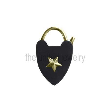 Heart Shape 925 Sterling Silver Handmade Black Rhodium Pad Lock Jewelry Manufacturer in India Jaipur