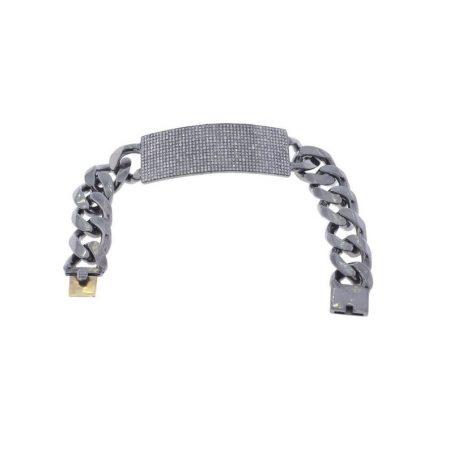 3.20ct Pave Diamond Dog Tag Chain Bracelet .925 Sterling Silver Vintage Jewelry