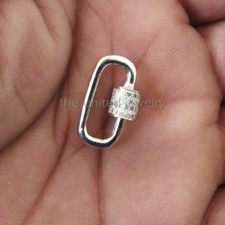 20 mm Natural Pave Diamond tinny Baby lock pendant, carabiner lock, 925 sterling silver carabiner lock pendant, lock findings jewelry
