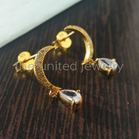 14k Gold Natural Pave Diamond Sterling Silver White Topaz Pear Shape Stone Crescent Moon Stud Silver Earrings Jewelry For Women