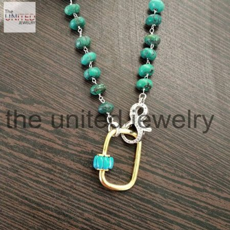 18 inch Natural Turquoise Beads Line With Turquoise Carabiner Lock Latest Design Necklace Women Fashion Jewelry Wholesale