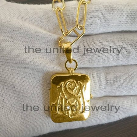 14k Yellow Gold Handmade Monogram MS Initial Alphabet Locket Box Long Link Chain 925 Sterling Silver Necklace Pendant Jewelry