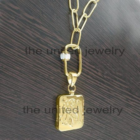 14k Yellow Gold Monogram MS Initial Alphabet Locket Box Long Link Chain Opal Carabiner Lock 925 Sterling Silver Necklace Pendant Jewelry